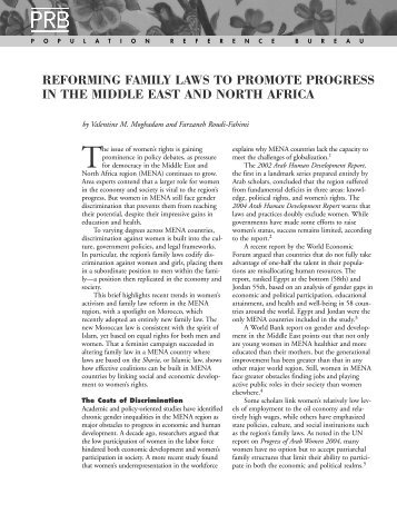 Reforming Family Laws to Promote Progress in the - Population ...