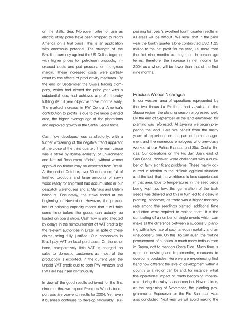 Shareholder Letter 2 / 2004 - Precious Woods