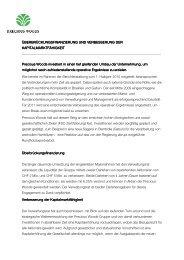 Ueberbrückungsfinanzierung und Verbesserung ... - Precious Woods