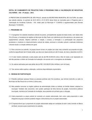 EDITAL DE CHAMAMENTO DE PROJETOS PARA O PROGRAMA ...