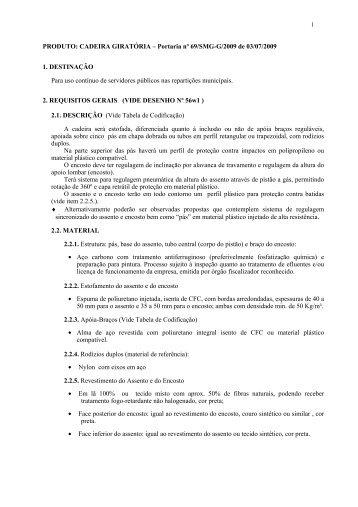 PRODUTO: CADEIRA GIRATÓRIA – Portaria nº 69/SMG-G/2009 de ...