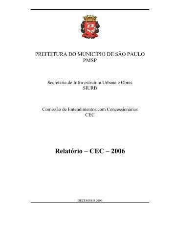 Relatório – CEC – 2006 - Prefeitura de São Paulo