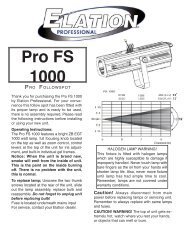 Pro FS 1000 User Manual (pdf) - Elation Professional