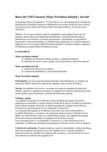 Bases del VIII Concurso Mejor Periodista Infantil y ... - Prensa-Escuela