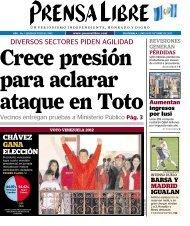 diversos sectores piden agilidad chávez gana elección - Prensa Libre
