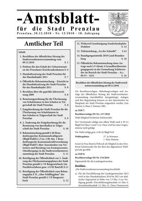 Amtsblatt 12-2010 - Stadt Prenzlau
