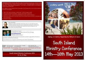 brochure for the South Island Ministry Conference - Presbyterian ...