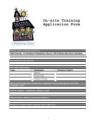 Kids Friendly on-site training application form
