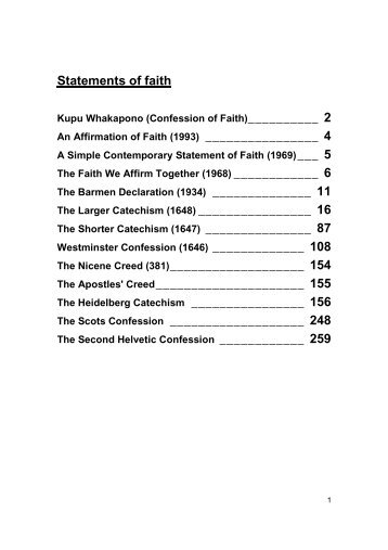 download the Confession of Faith. - Presbyterian Church of ...