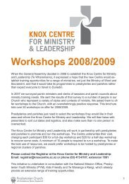 Workshops 2008/2009 - Presbyterian Church of Aotearoa New ...