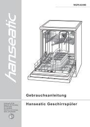 Gebrauchsanleitung Hanseatic Geschirrspüler
