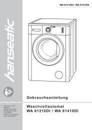 Gebrauchsanleitung Waschvollautomat WA 61210DI / WA 61410DI