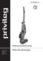 Gebrauchsanleitung Akku-Kombisauger privileg VC ... - Quelle