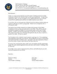 Dear Educator, - The President's Challenge