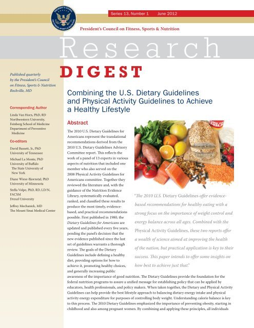 Combining the U.S. Dietary Guidelines and Physical Activity