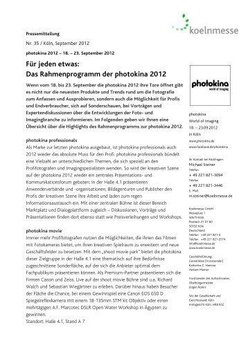 Für jeden etwas: Das Rahmenprogramm der photokina ... - Press1.de