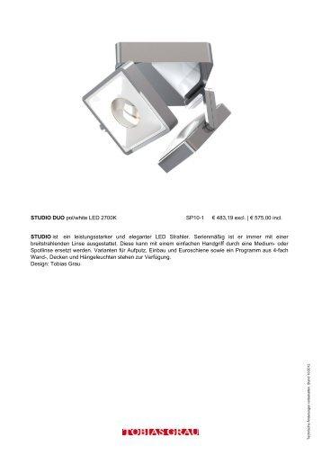 STUDIO DUO pol/white LED 2700K SP10-1 € 483,19 excl ... - Press1