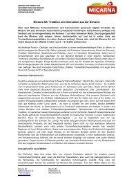Micarna SA: Tradition und Innovation aus der Schweiz - Press1
