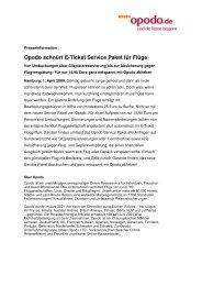 Opodo schnürt E-Ticket Service Paket für Flüge
