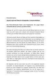 Opodo sponsert Beach-Volleyballer Lohmann/Köhler