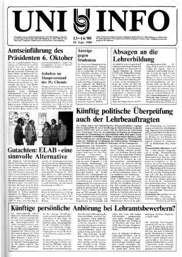 Nr. 13-14 / SEPTEMBER 1980 - Universität Oldenburg