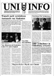 Nr. 7 / JUNI 1985 - Presse & Kommunikation - Universität Oldenburg