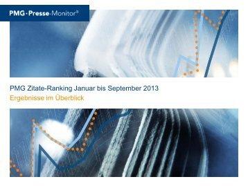 PMG Zitate-Ranking Januar bis September 2013 Ergebnisse im ...