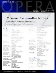 small cast small orchestra - the Theodore Presser Company