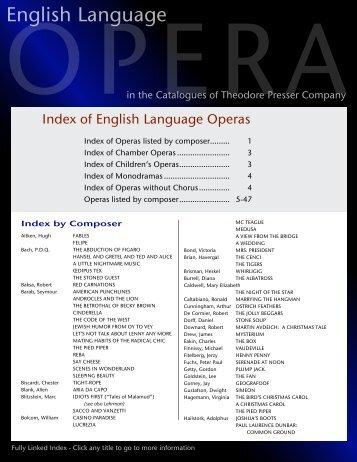 English Language Operas - the Theodore Presser Company