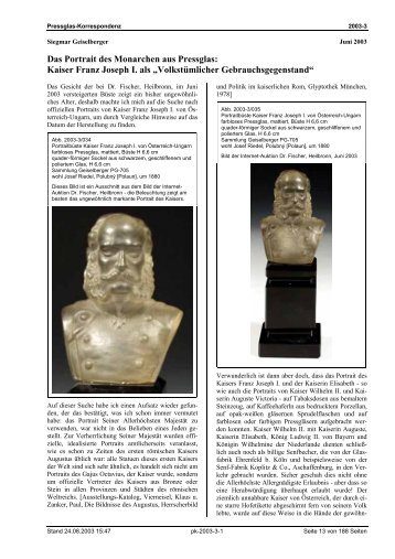 Kaiser Franz Joseph I. als - Pressglas-Korrespondenz