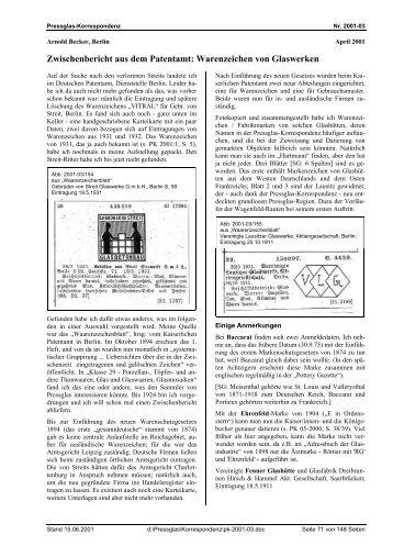Warenzeichen von Glaswerken - Pressglas-Korrespondenz