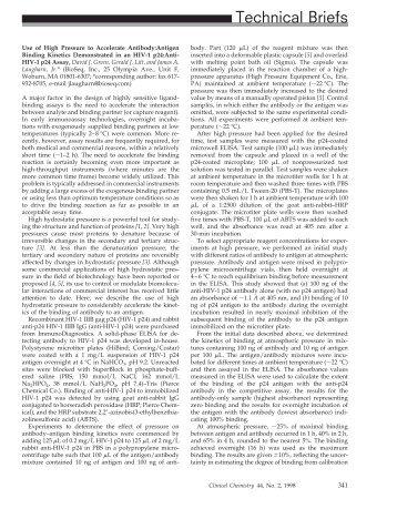 Use of High Pressure to Accelerate Antibody: Antigen Binding ...