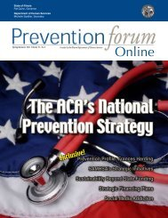 The ACA's National Prevention Strategy - Prevention First