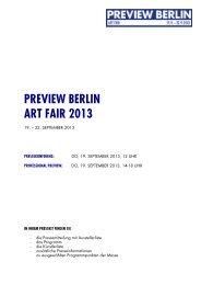 Pressekit der PREVIEW BERLIN ART FAIR 2013
