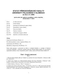 Statut UP - Přírodovědecká fakulta - Univerzita Palackého v Olomouci