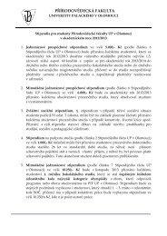 Stipendia pro studenty PřF v akademickém roce 2012/13