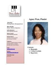 Agnes Wan, Pianist Contents - Price Rubin & Partners