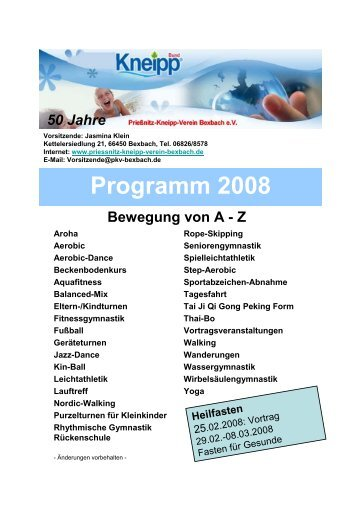 Programm 2008 - Priessnitz-Kneipp-Verein Bexbach