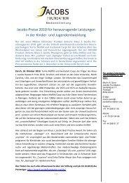 Jacobs-Preise 2010 für herausragende Leistungen in der ... - Primano