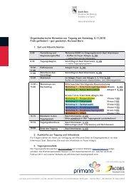 Organisatorische Hinweise zur Tagung am Samstag, 6.11 ... - Primano