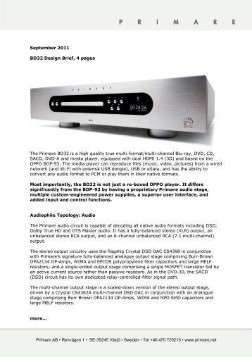 BD32 Design Brief - Primare