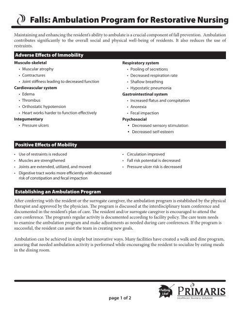 Falls Ambulation Program For Restorative Nursing Primaris