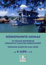 Höhepunkte Chinas ab € 1299,- p.p. - Prima Urlaub