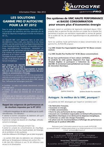les solutions gamme pro d'autogyre pour la rt 2012 - Primavera