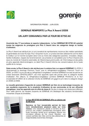GORENJE REMPORTE Le Plus X Award 2009 UN ... - Primavera