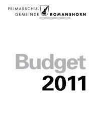 Budgetbotschaft - Primarschulgemeinde Romanshorn