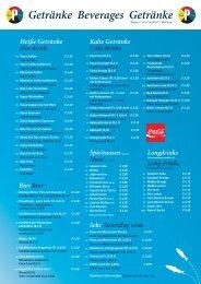 Tages- und Rundfahrten Getränkekarte 2013 - Primus-Linie