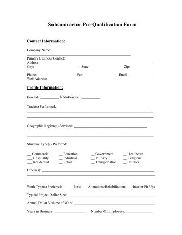 SUBCONTRACTOR QUALIFICATION STATEMENT FORM - Norwood
