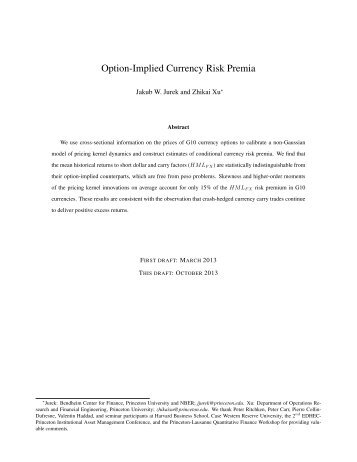 Option-Implied Currency Risk Premia - Princeton University