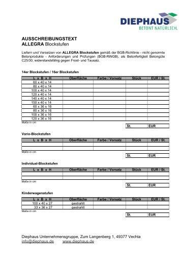 AUSSCHREIBUNGSTEXT ALLEGRA - Diephaus